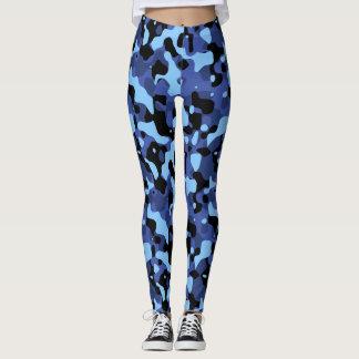 Blue Camo Pattern Yoga Leggings