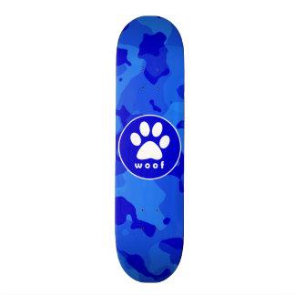Blue Camo; Paw Print Custom Skate Board