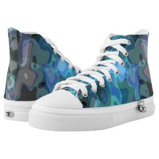 Blue Camo Printed Shoes
