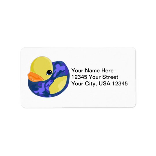 Blue Camo Rubber Ducky Address Label