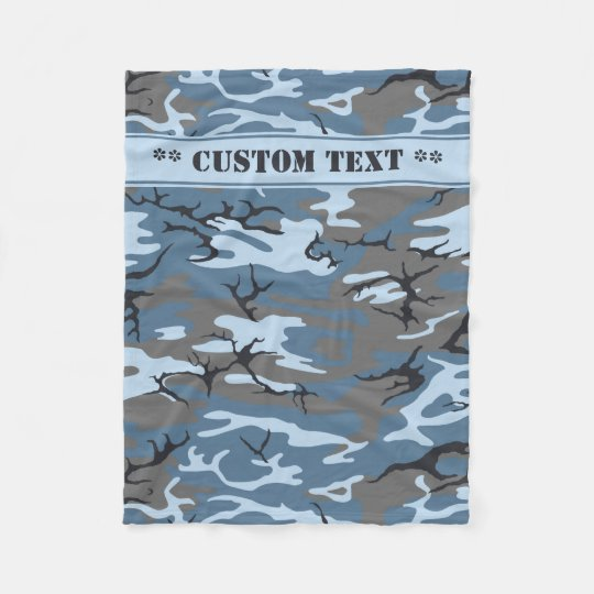 Blue Camo w/ Custom Text Fleece Blanket
