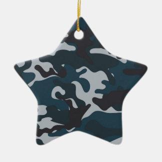 Blue Camouflage Ceramic Star Decoration