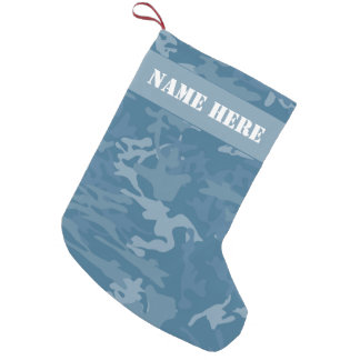 Blue Camouflage Custom Christmas Camo Small Christmas Stocking