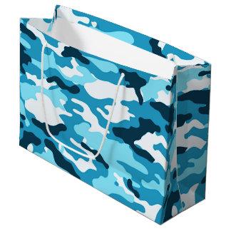 Blue camouflage Large Gift Bag