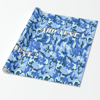 Blue Camouflage Military Background Wrapping Paper