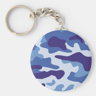 Blue camouflage pattern basic round button key ring