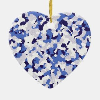 Blue camouflage pattern ceramic heart decoration
