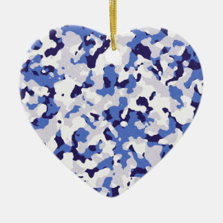 Blue camouflage pattern christmas ornament