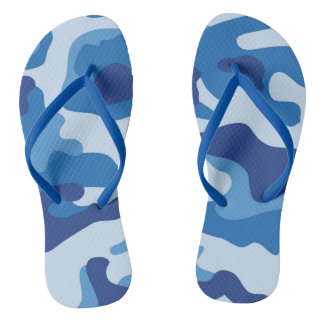 Blue Camouflage Pattern Flip Flops