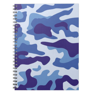 Blue camouflage pattern spiral note book
