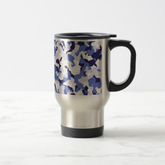 Blue camouflage pattern travel mug