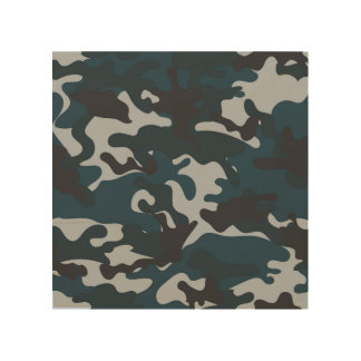 Blue Camouflage Wood Print