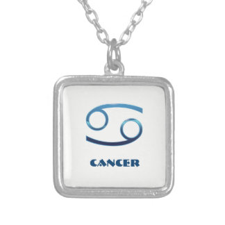 Blue Cancer Zodiac Signs On White Silver Plated Necklace