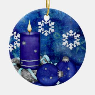Blue Candle Christmas Christmas Ornament
