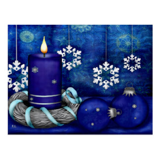 Blue Candle Christmas Postcard