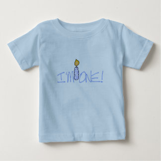 Blue Candle I'm One Birthday Baby T-Shirt