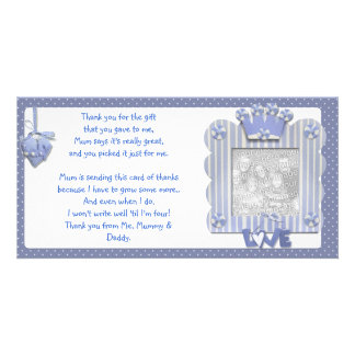 Blue candystripe frame Thank You Card from baby Photo Card