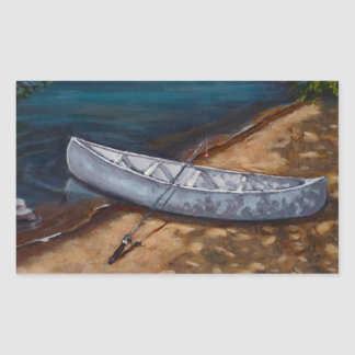 Blue Canoe Painting: Fishing Rod, River: Art Rectangular Stickers