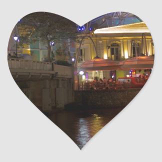 Blue Canopy and river at Clarke Quay in Singapore Heart Sticker