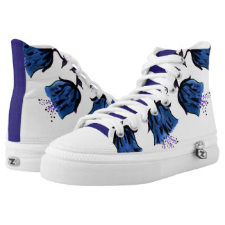 Blue Canterbury Bells on Vine Zipz High Top Shoes Printed Shoes