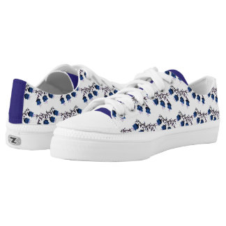 Blue Canterbury Bells on Vine Zipz Low Top Shoes Printed Shoes