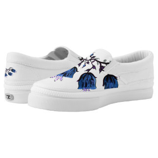 Blue Canterbury Bells on Vine Zipz Slip On Shoes Printed Shoes