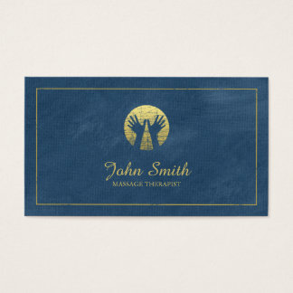 Blue Canvas Golden Frame, Hands Massage Therapy Business Card