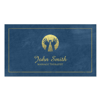 Blue Canvas Golden Frame, Hands Massage Therapy Pack Of Standard Business Cards