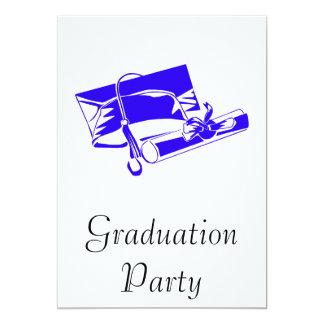 Blue Cap & Diploma 13 Cm X 18 Cm Invitation Card