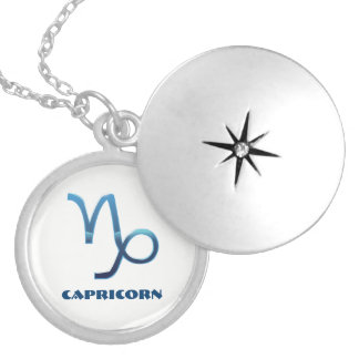 Blue Capricorn Zodiac Signs On White Locket Necklace