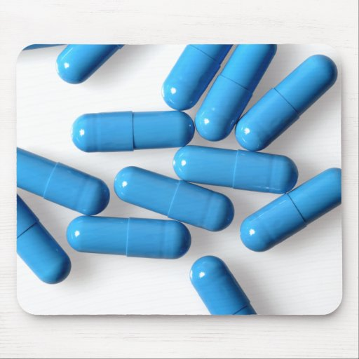 blue capsules mouse pad