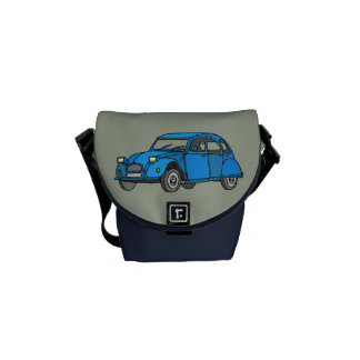 Blue Car (2CV) Messenger Bag