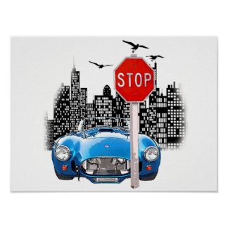 Blue car and cityscape poster. poster