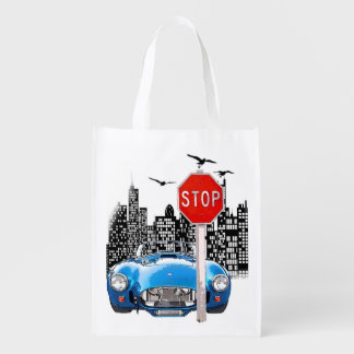 Blue car and cityscape reusable bag. reusable grocery bag
