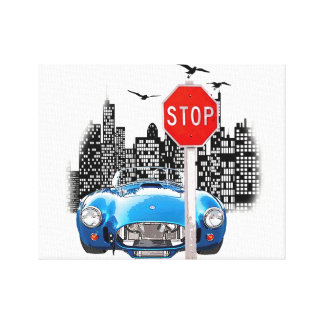 Blue car and cityscape wrapped canvas. canvas prints