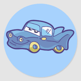Blue Car Tshirts and Gifts Round Sticker
