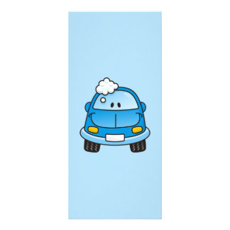 Blue car with bubbles customised rack card