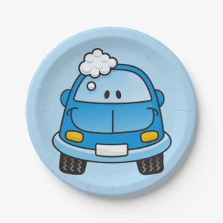 Blue car with bubbles paper plate