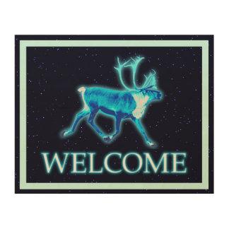 Blue Caribou (Reindeer) - Welcome Wood Wall Art