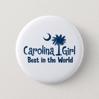 Blue Carolina Girl Best in the World 6 Cm Round Badge