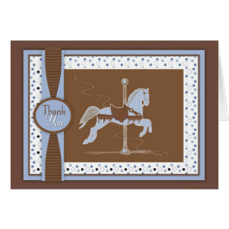 Blue Carousel Horse Thank You Card