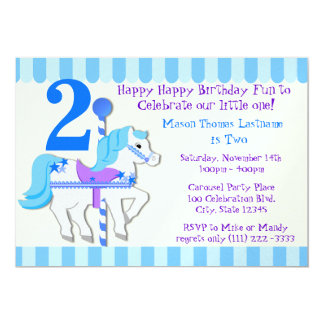 Blue Carousel Pony 2nd Birthday Party Card