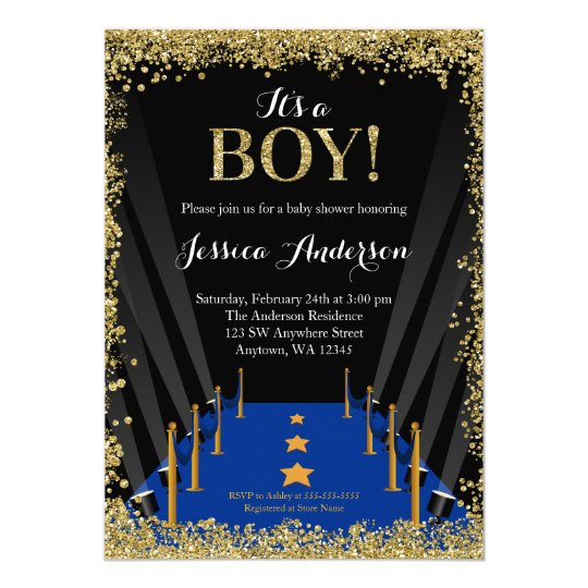 Blue Carpet Hollywood Faux Glitter Boy Baby Shower