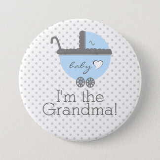 Blue Carriage Baby Shower Grandma 7.5 Cm Round Badge