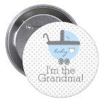 Blue Carriage Baby Shower Grandma 7.5 Cm Round Badge