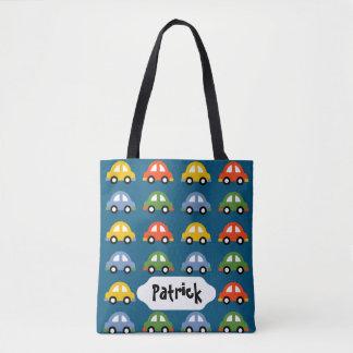 Blue cars custom design bag