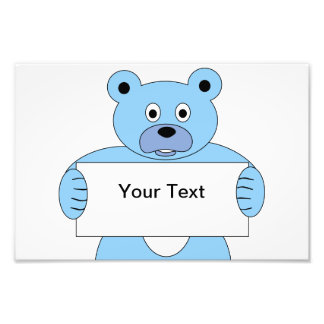 Blue Cartoon Bear with Sign (add your own text) Photo