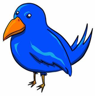 Blue Cartoon Bird Standing Photo Sculpture