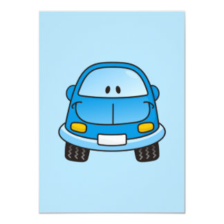 Blue cartoon car 4.5x6.25 paper invitation card