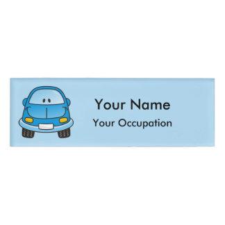 Blue cartoon car Name Tag